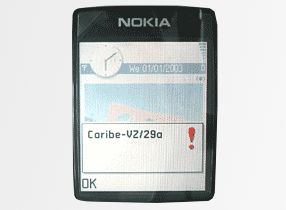 """Picture of a Nokia phone infected with """"Cabir"""""""